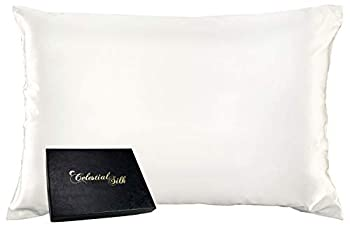 Celestial Silk 100% Silk Pillowcase for Hair Zippered Luxury 25 Momme Mulberry Silk Charmeuse Silk on Both Sides of Cover -Gift Wrapped-  Queen Natural Undyed White
