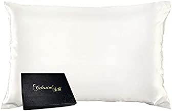 Celestial Silk 100% Silk Pillowcase for Hair Zippered Luxury 25 Momme Mulberry Silk Charmeuse Silk on Both Sides of Cover -Gift Wrapped- (King, Natural Undyed White)