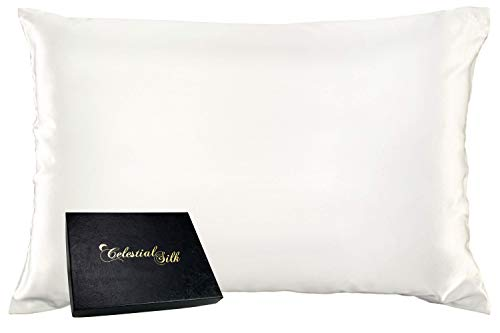 Celestial Silk 100% Silk Pillowcase for Hair Zippered Luxury 25 Momme Mulberry Silk Charmeuse Silk on Both Sides of Cover -Gift Wrapped- (Queen, Natural Undyed White)