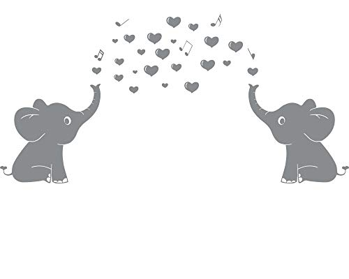 Elephant Family Wall Decal With Hearts Music Quote Art Baby Nursery Wall Decor (Grey) - 24' X 51'