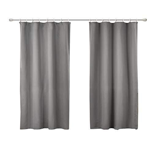 WOLTU #489-2, 2er Set Gardinen Vorhang Blickdicht mit kräuselband für schiene, leichte & weiche Verdunklungsvorhänge für Wohnzimmer Schlafzimmer Tür, 135x175 cm, Grau