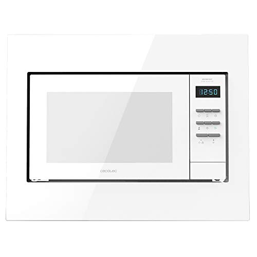 Cecotec Grandheat 2300 Digitale Einbau-Mikrowelle, 23 Liter, 800 W, Einbaubar, Grill, 5 Stufen, 8 Funktionen, Timer, Weiß