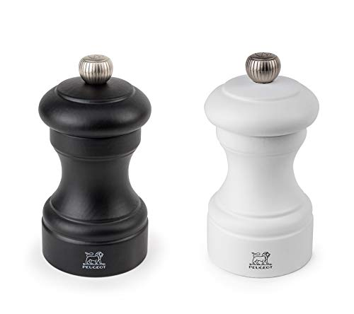 Peugeot Bistro Mühlen-Set Pfeffer/Salz, Klassische Mahlgradeinstellung, Höhe: 10 cm, Holz, Weiß/Schwarz, 2/24291