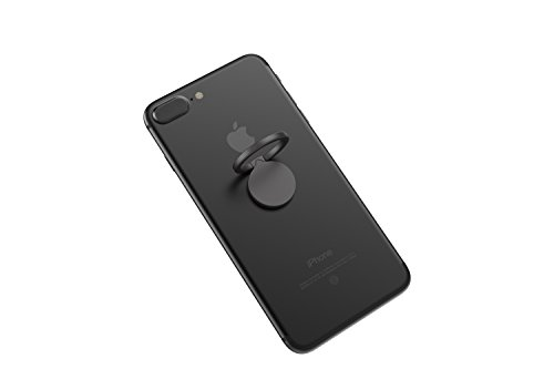 Kronya® | Portaobjetos giratorio 360 ° para smartphone | Sostenedor aptitud dedo coche celular anillo soporte teléfono móvil Apple iPhone iPad 7 8 10 X Samsung Galaxy S8 4 (Negro)