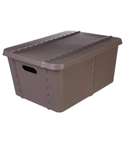 AC-Déco Boîte de Rangement Canvas - 15 L - Taupe