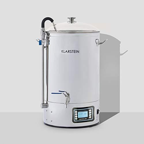 KLARSTEIN Mundschenk - cuve à moût, système de brassage de bière, chauffage de 2500 W, 30 L, 6 programmes, MemoryBrew, écran LCD, inox 304, avec tamis et récipient à grains - argent