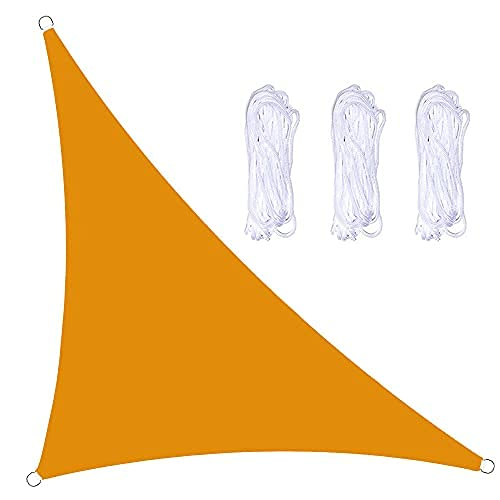 Toldo Vela De Sombra Triangular En ángulo Recto Impermeable Toldo con Protección UV, Utilizada para Fiestas En Terrazas En El Jardín Al Aire Libre, con Cuerda (5x5x7m,Amarillo Mango)
