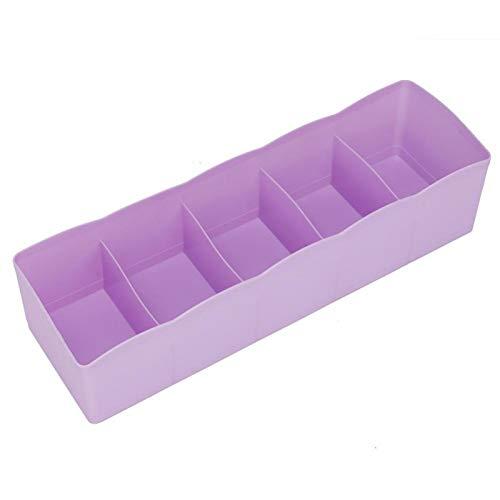 Divisor de cajón ecológico de 5 rejillas Diseño simple y compacto para dormitorio(purple)