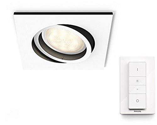 Philips 5042131P7 A, Hue LED Einbauspot Milliskin Eckig, 250 lm inklusiv Dimmschalter, Plastik, 5.5 W, GU10, weiß, 9 x 9 x 10 cm