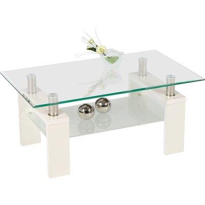 Alfa-Tische Couchtisch, Milchglas, Weiß