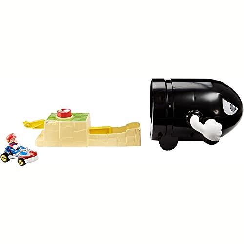 Hot Wheels Mario Kart lanceur Bill Balle avec mini-véhicule Mario à l'échelle 1:64 inclus, jouet pour enfant inspiré par les voitures du jeu, GKY54