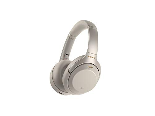 Sony WH1000XM3 Noise Cancelling Headphones : Wireless Bluetooth Over the Ear Headset – Silver (2018 Version)