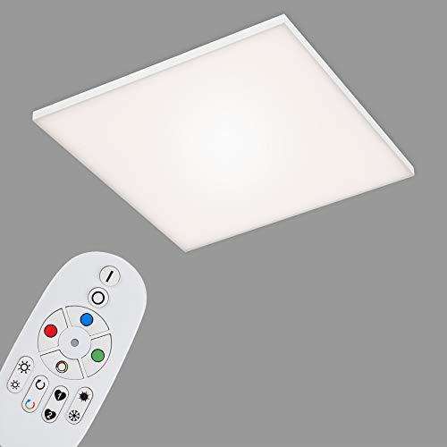 Briloner Leuchten - LED Panel, LED Deckenlampe dimmbar, rahmenlos, Farbtemperatursteuerung, RGB, inkl. Fernbedienung, 40 Watt, 4.500 Lumen, Weiß, 595x595x57mm (LxBxH), 7349-216