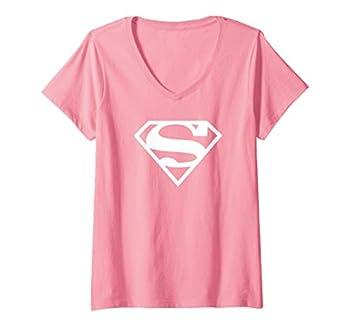 Womens Supergirl White & Pink Shield V-Neck T-Shirt