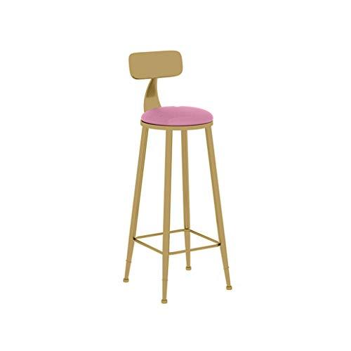 Tuqia Meubels Metalen hoge kruk, met rugleuning Golden Bar Stool thuis Western restaurant ontvangstzaal salon ontvangst stoel grootte: 65cm / 75cm woonkamermeubels stoelen