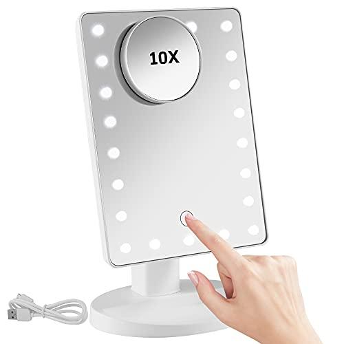 DUFU Tischspiegel mit Beleuchtung Weiß Kosmetikspiegel mit Licht Schminkspiegel Beleuchtet Rasierspiegel 10X Vergrößerung Makeup Spiegel 180°Schwenkbar USB/Batterie Aufladen