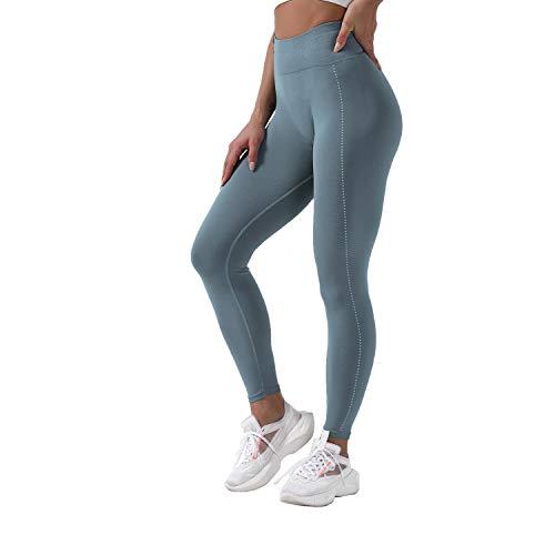 QTJY Pantalones de Yoga elásticos Sexis Suaves para Mujer, Medias de Cintura Alta a la Cadera, Push-ups sin Costuras, Celulitis, Ejercicio, Gimnasio, Pantalones de chándal B S