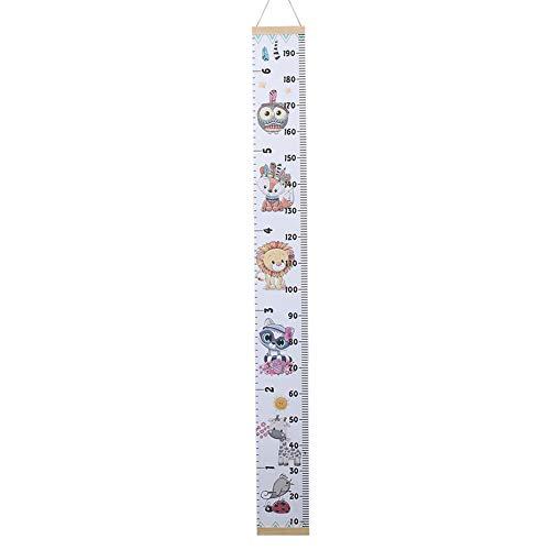 Kinder-Messlatte mit Cartoon-Eule, Eichhörnchen, Hirsch, Elefant, Kinder-Größentabelle – 6 Farben, 6#, 1