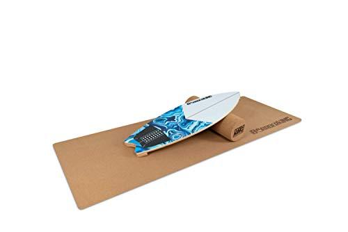 Indoorboard Wave Set Balance Board Skateboard Surfboard Balanceboard (White, 150 mm x 45 cm (Korkrolle))