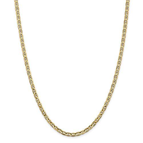 Pulsera de oro de 14 quilates de 3,75 mm cóncavo náutico con ancla para naves marineras de ancla de cadena de tobillo para regalo para mujer – 25 centímetros
