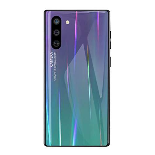 Fanxwu Kompatibel mit Samsung Galaxy S20 Hülle Glitzer Bling Weiches TPU Slim Cover Schlankes gehärtetes Glas Sparkle Gradient Back Case Anti-Kratz Stoßfest Schutzhülle - Lila