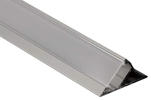 Gedotec LED-Aluminium-Profil 2000 mm Unterbau-Profil Eck-Einbauprofil abgewinkelt | Dreieck-Profilleiste silber für LED-Streifen | Milchig transparent | 1 Stück - Winkel-Alu-Profil mit Endkappen