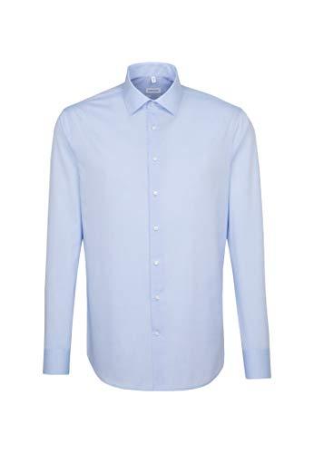 Seidensticker Herren Business Hemd Tailored Fit – Bügelfreies, schmales Hemd mit Kent-Kragen – Extra langer Arm – 100% Baumwolle, Blau (hellblau), 39 CM