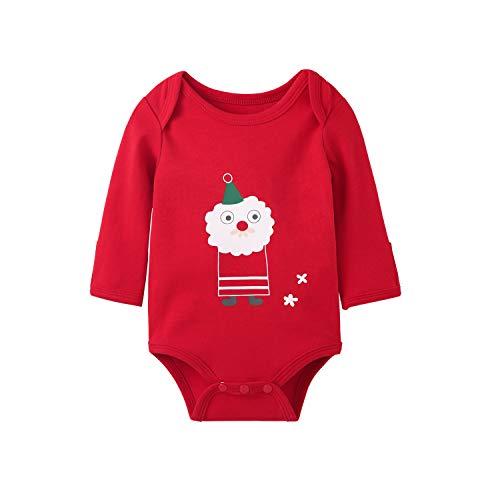 pureborn Baby Boys Girls Bodysuit Unisex Long Sleeve Christmas Santa Claus Cotton Onesies Red 12-18 Months