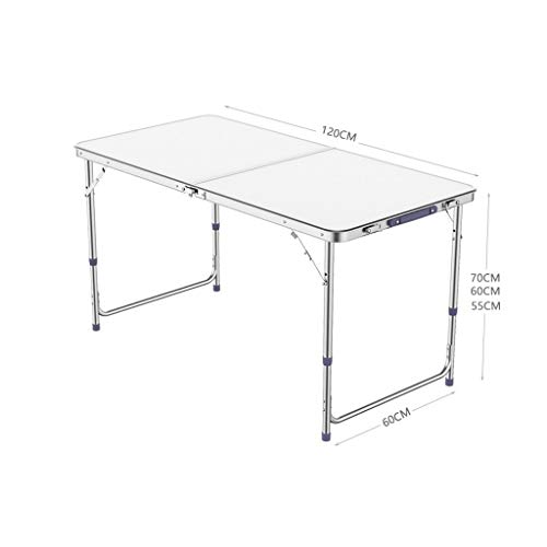 Tisch Im Freien Moderne Minimalist Klapptisch im Freien Couchtisch Camping Picknick-Tisch bewegliche Spielraum Tischhöhe Einstellbare Weiß -120 × 60 × 70 cm (Color : B)