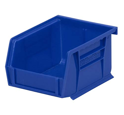 Akro-Mils 30210 AkroBins Plastic Storage Bin Hanging Stacking Containers, (5-Inch x 4-Inch x 3-Inch), Blue, (24-Pack)