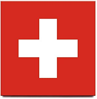 Switzerland flag square fridge magnet Zurich Geneve Basel travel souvenir
