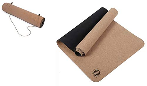 """Hautest Health Cork and Natural Rubber Yoga Mat Includes Carrying Strap, 72""""x24"""" Thick Non-Slip Fitness Mat For Pilates, Bikrim Yoga, Hot Yoga, and Floor Exercises"""