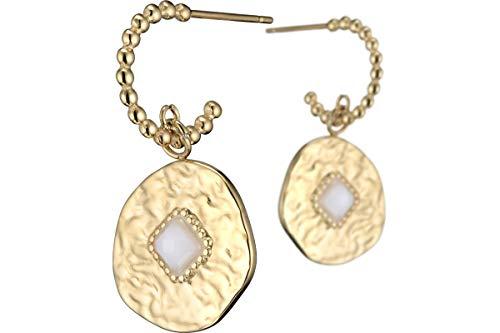 Ikita Gold Metal Agate Diamond Pearl Pierced Earrings