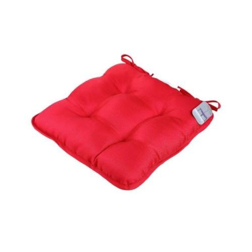 GC Set of 4 Seat Cushions With Ties Luxurious Padded Quilted Seat Cushions For Indoor Outdoor Garden Patio Kitchen & Office Chairs (Deep Red)