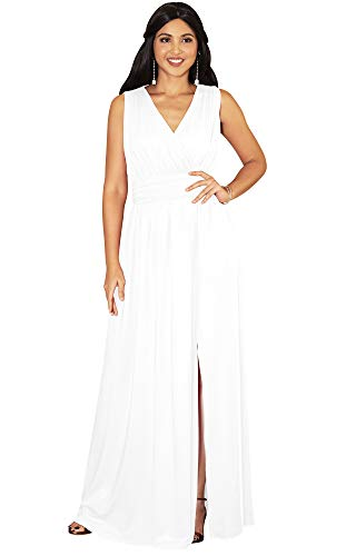 KOH KOH Plus Size Womens Long Bridesmaid Wedding Guest Cocktail Party Sexy Sleeveless Summer V-Neck Evening Slit Day Full Floor Length Gown Gowns Maxi Dress Dresses, Ivory White 3XL 22-24