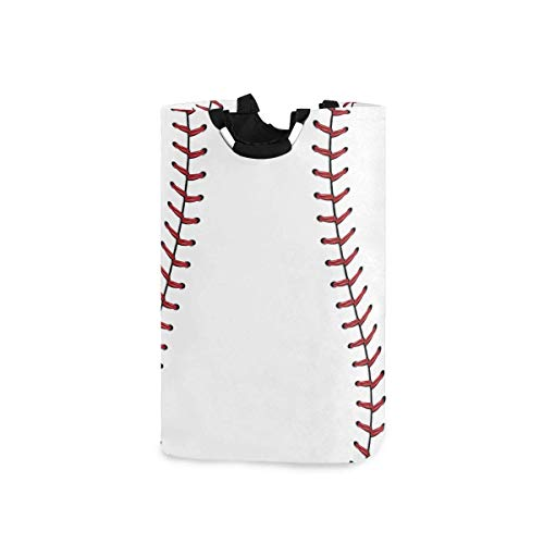 Costura roja Béisbol Cesto de la ropa Cesto Canasta Baloncesto Deporte Blanco Bolsa de ropa sucia plegable Papelera de lavado Organizador de almacenamiento de juguetes para dormitorios universitarios,