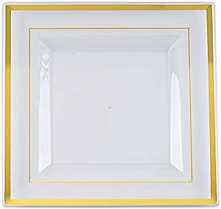 BalsaCircle 20 pcs 10-Inch Clear with Gold Trim Plastic Square Plates - Disposable Wedding Party Reception Event Catering Tableware