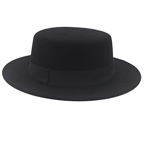 NE Norboe Women's Brim Fedora Flat Top Hat Church Derby Bowknot Cap Black
