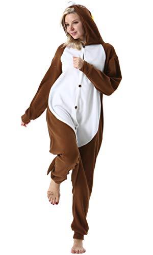 Pijama Animal Entero Unisex para Adultos con Capucha Mujer Hombre Cosplay Pyjamas Ropa de Dormir Traje de Disfraz para Festival de Carnaval Halloween Navidad Topo para Altura 148-187cm