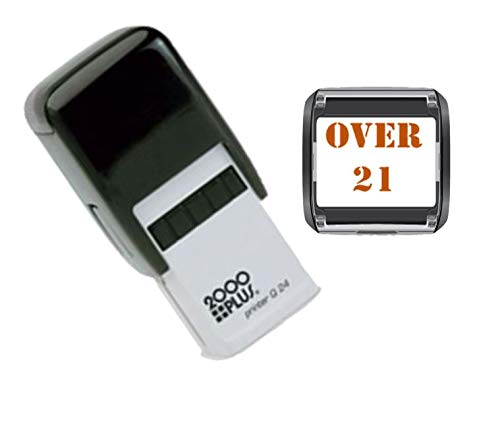 Over 21 Hand Stamp - Suitable for Festivals, Parties, Clubs, Special Events, Bars etc. (Red)