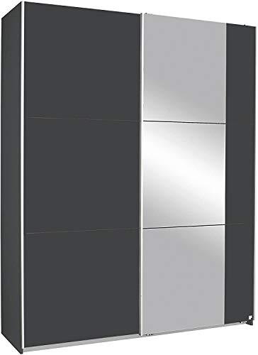 Armadio porta armadio scorrevole con mensole e barre appendiabiti, materiali di legno, con specchio adatto per camera da letto,175 x 59 x 210 cm