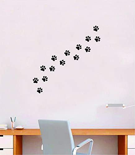 Adhesivo decorativo para pared, diseño de huellas de perro con texto en inglés 'Home Room Art Vinilo'