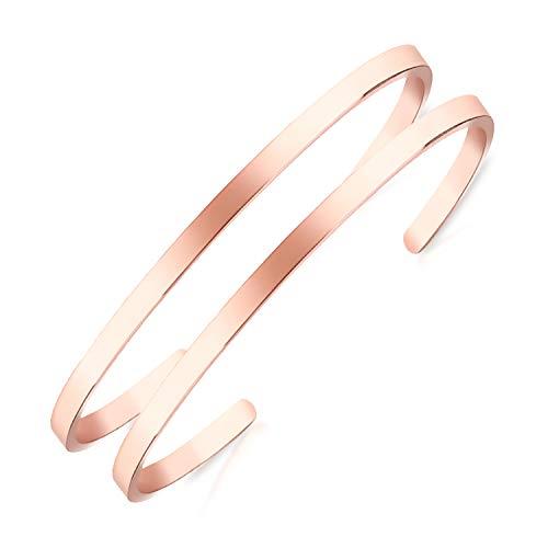 Lolalet 2-pack ovale dunne manchet-armband, 18K rose goud/vergulde paren liefde armbanden, effen gepolijste afwerking Open manchet Bangle sieraden cadeau voor mannen vrouwen-Rosegold