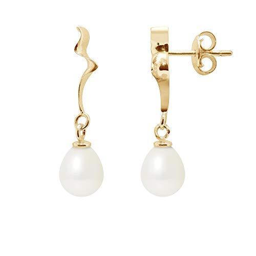 Blue Pearls–blanco perlas de agua dulce pendientes colgantes y oro amarillo 375/1000–BPS K305W