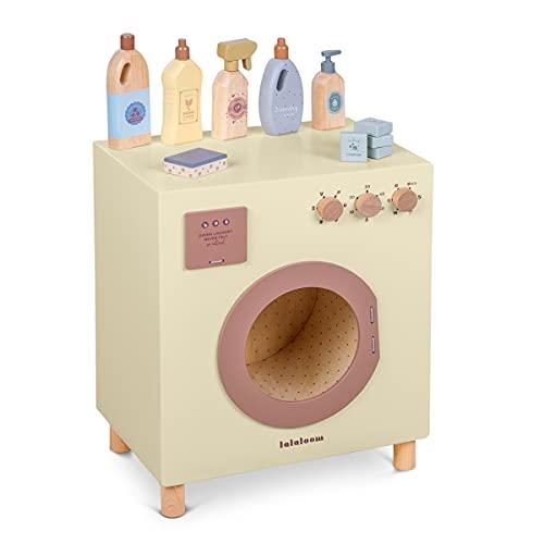 Lavadora de Madera Natural, ECOLAUNDRY, Juguete simbólico lavandería Secadora Cocina para niños, Juego Infantil Educativo, a Partir de 3 años
