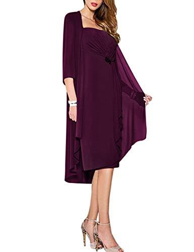 HUINI Abendkleider Chiffon Wadenlang Ballkleider Brautmutterkleid mit Jacke Elegant Festkleider Langarm Partykleider Traube 46