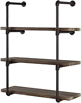 Industrial Retro Wall Mount iron Pipe Shelf,DIY Open Bookshelf,Hung Bracket DIY Storage Shelving,Home Improvement Kitchen Shelves,Tool Utility Shelves Office shelves bookshelves and bookcases(2pcs)