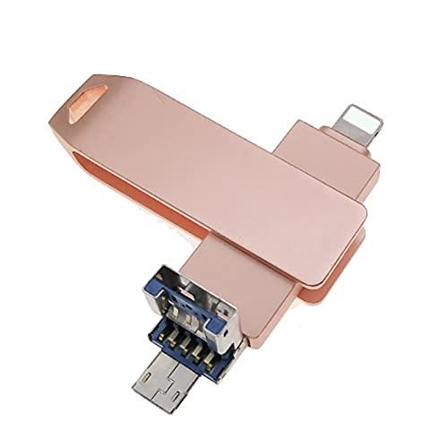 3 en 1 OTG Pen Drive para iPhone, USB 3.0 Memory Stick cifrado Pulgar Drive, Photo Backup Stick con Micro USB para teléfonos Android/PC (32 GB, rosa)