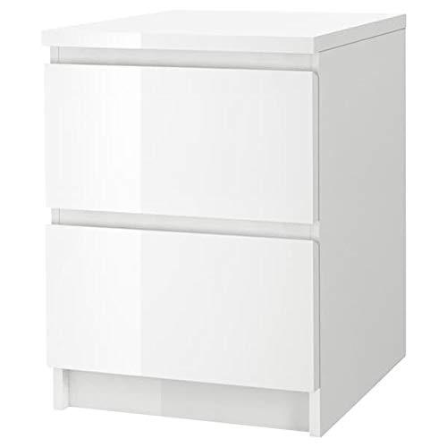 DiscountSeller MALM komoda z 2 szufladami, biały o wysokim połysku, 40 x 55 cm, trwała i łatwa w utrzymaniu. Stoliki kawowe i pomocnicze. Stoliki i biurka. Meble przyjazne dla środowiska.
