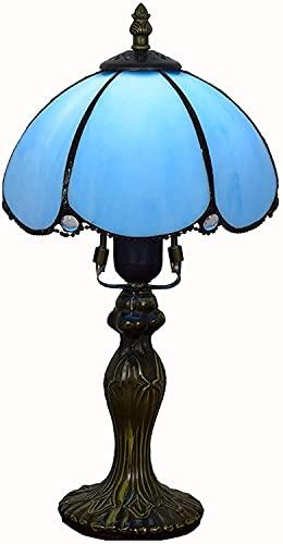 sgvaga Lámpara de mesa de 20,3 cm, creativa, azul pastoral, minimalista, estilo Tiffany, lámpara de mesita de noche,...